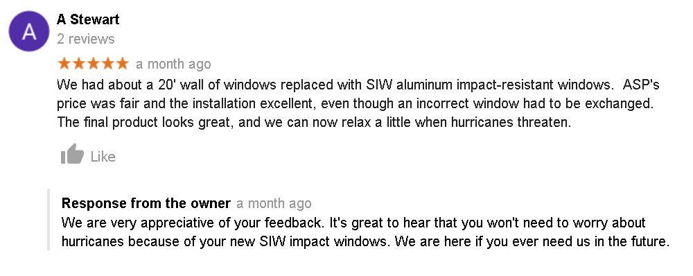 Satisfied Customer Reviews Hurricane Resistant Patio